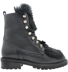 Siton Black Lace-Up Fur Hiking Boot 8050