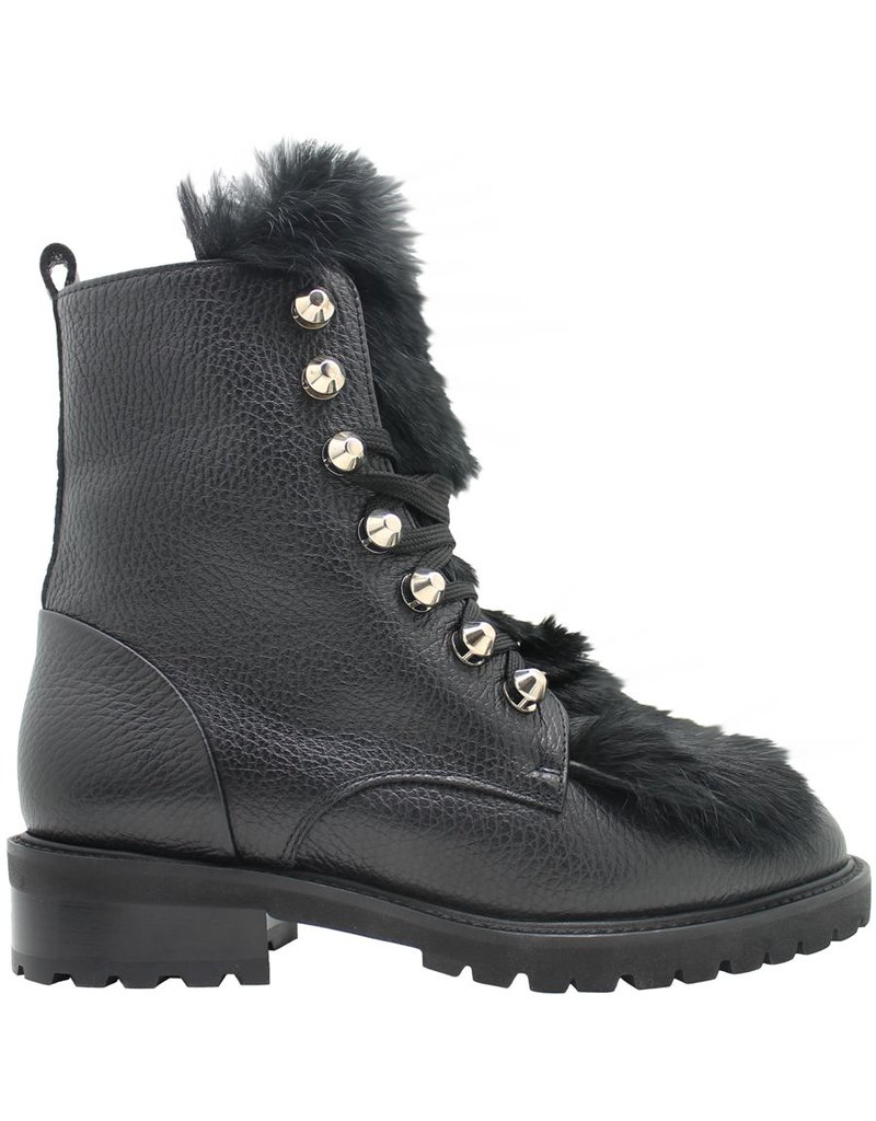 Siton Siton Black Lace-Up Fur Hiking Boot 8050