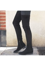 ViaRoma Black Suede Thigh High Boots 2318