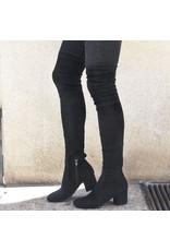 ViaRoma Black Suede Over The Knee Low Heel 2319