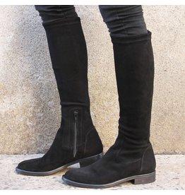 ViaRoma ViaRoma Black Suede Flat Knee Boot 2346