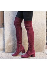 ViaRoma Wine Suede Over the Knee Low Heel 2319