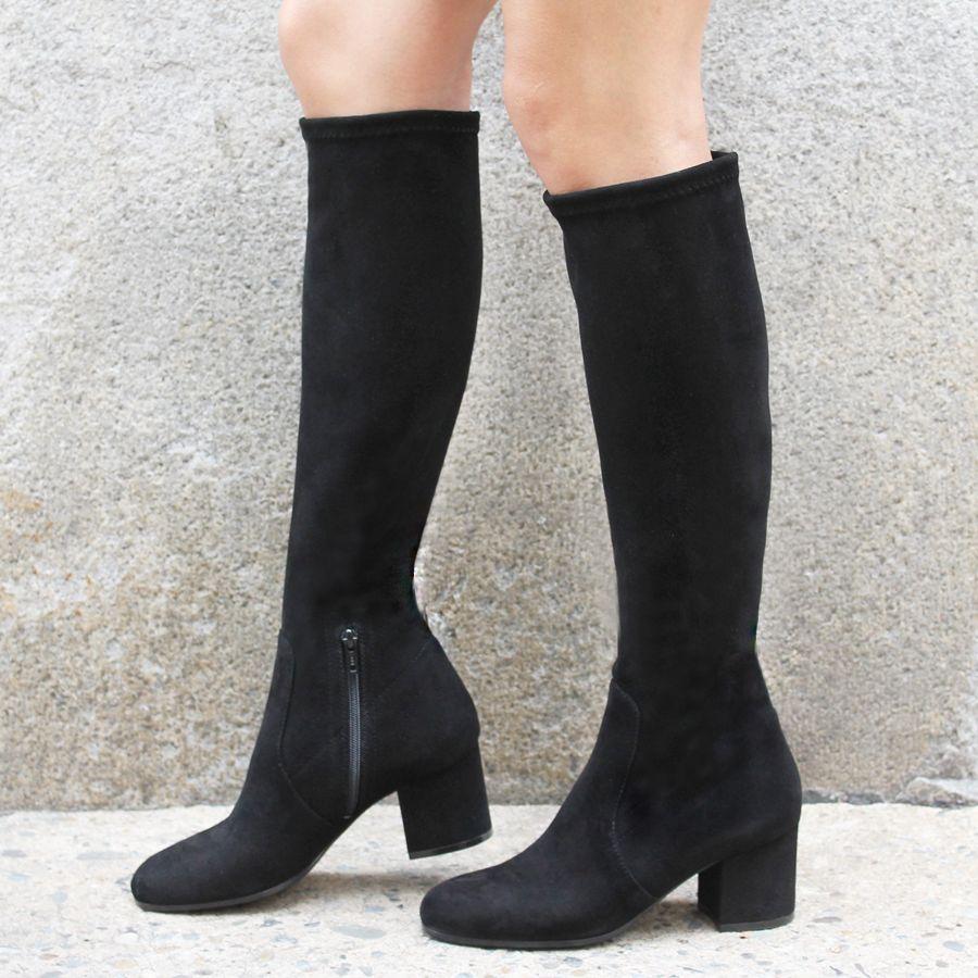 viaroma viaroma black suede knee boot low heel 2347