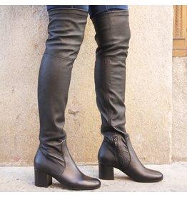 ViaRoma Black Nappa Over The Knee Low Heel 2320
