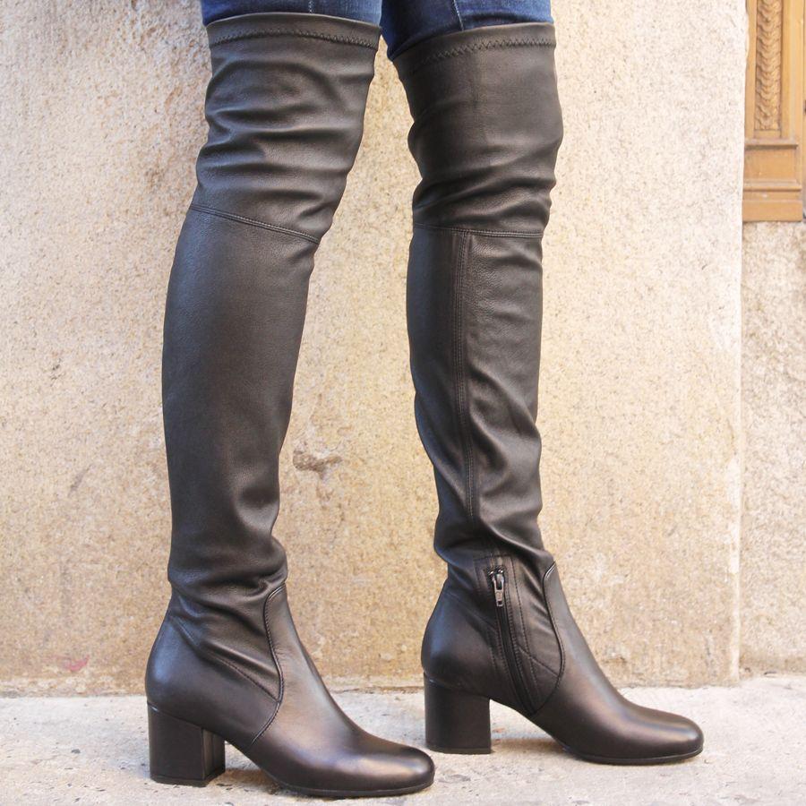ViaRoma ViaRoma Black Nappa Over The Knee Low Heel 2320