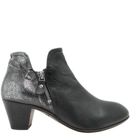 Moma Moma Black 2-Zipper Ankle Boot With Lava Metal 2560