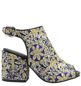 Strategia Strategia  Blue Gold Embroidered Sling Sandal 1732