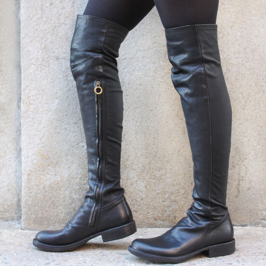 Fiorentini+Baker Fiorentini Black Leather /Stretch Over The Knee Evita