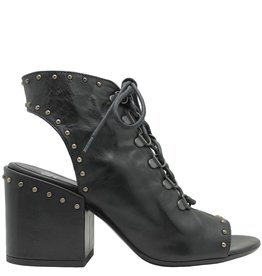 Now Now Black Studded Block Heel Sandal 4585