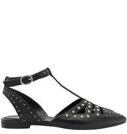 Now Now Black Point Toe T-Strap With Studs 4606