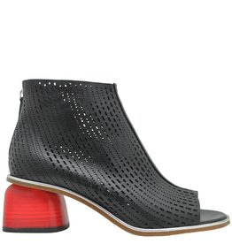 Halmanera Halmanera Black Laser/Red Heel Back Zip  Bootie Billie