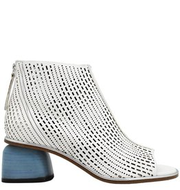 Halmanera Halmanera White Laser/Blue  Back Zip Open Toe Bootie Billie