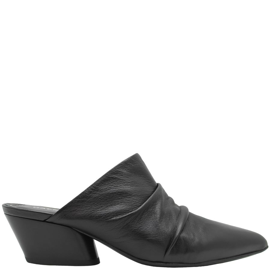Halmanera Halmanera Black Ruched Point Toe Mule Loren