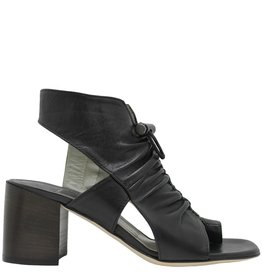Ixos Ixos Black Ruched With Sling Sandal With Med Heel Kay