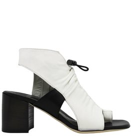 Ixos Ixos White Ruched With Black Sling Sandal With Med Heel Kay