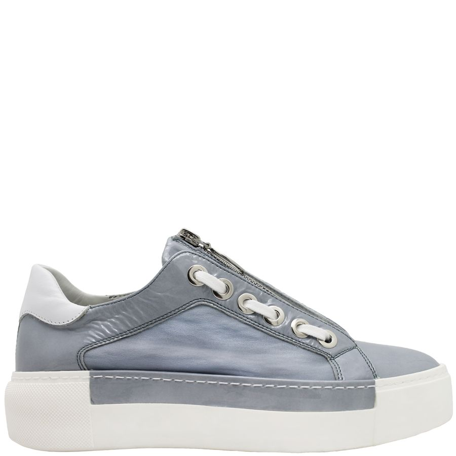 VicMatie VicMatie Blue-Grey Patent Sneaker With Zipper 6240