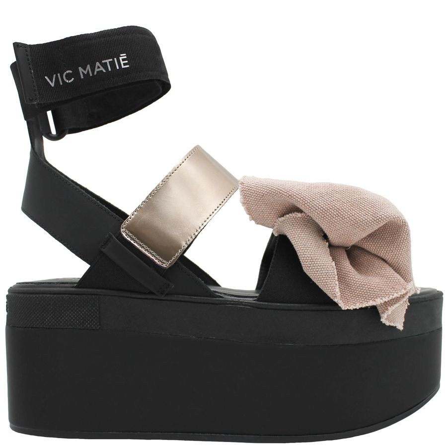 VicMatie VicMatie Black Wedge Sandal With Dusty Pink Fabric Bow 6300