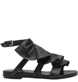 VicMatie VicMatie Black Asymmetric Ruffled Sandal 6650