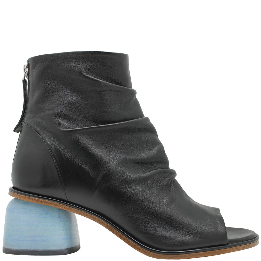 Halmanera Halmanera Black Open Toe Boot With Blue Heel Abbie