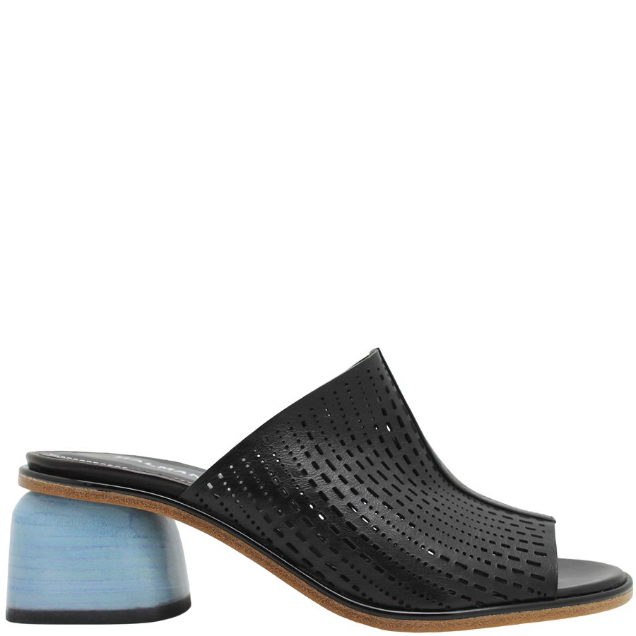 Halmanera Halmanera Black Laser Mule With Blue Heel Birgit