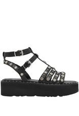 Now Now Black Double Buckle T-Strap Flatform Sandal 4663