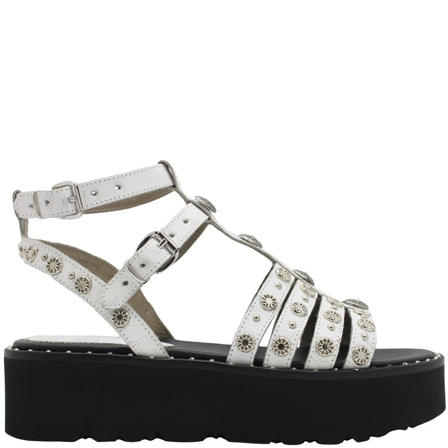 Now Now White Double Buckle T-Strap  With Black Flatform Sandal 4663