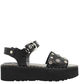 Now Now Black Two Piece Buckled Sandal 4665