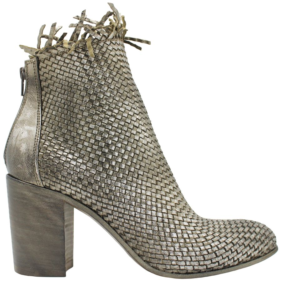 Strategia Strategia Metallic Woven Frayed Boot With Back Zipper 3570