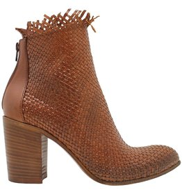 Strategia Strategia Camel Woven Frayed Boot With Back Zipper 3570