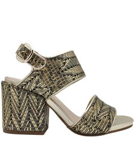Strategia Strategia Gold Topstitched 2-Piece Sandal 3594