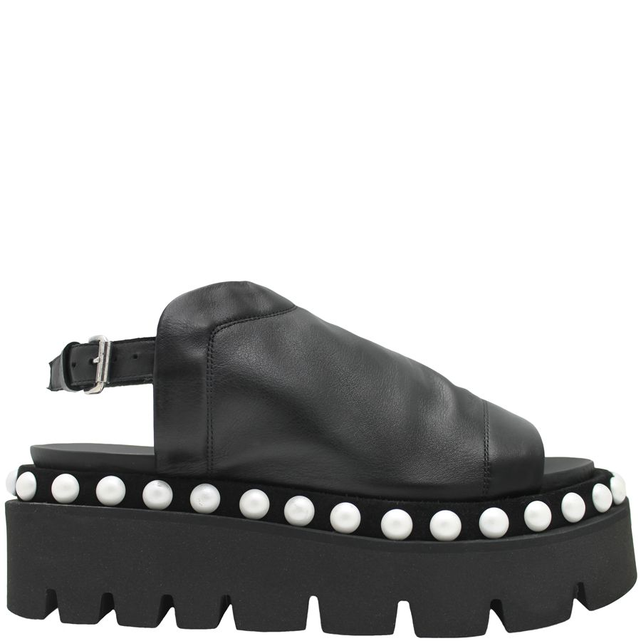 Strategia Strategia Black Flatform Sling With Pearl Trim 3726