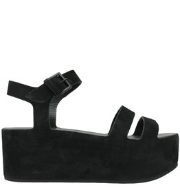 Del Carlo DelCarlo Black Suede Double Strap Wedge 5190