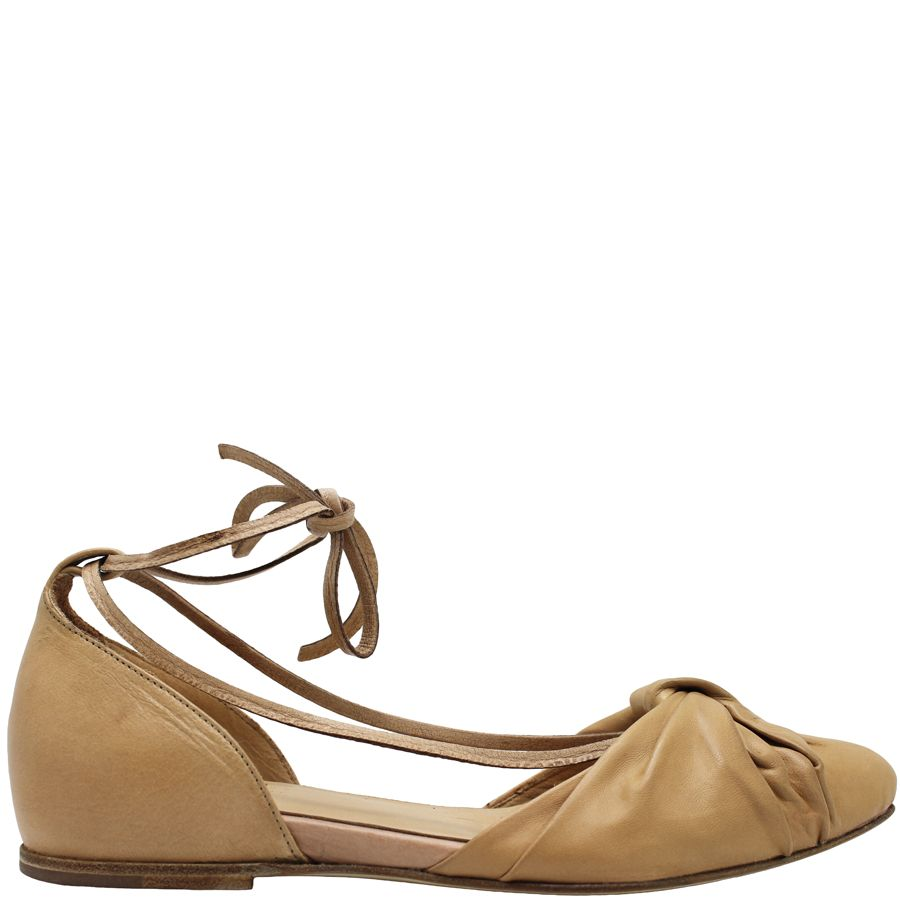Ink Ink Beige Knotted Ballerina With Ties 4130