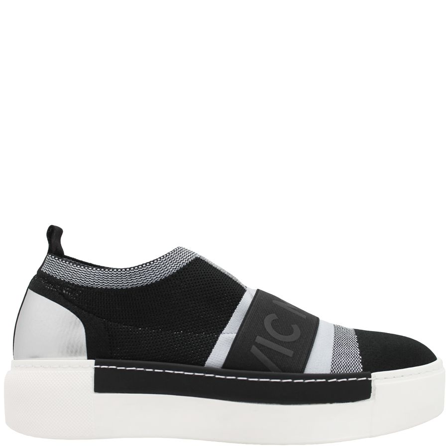 VicMatie VicMatie  Black Grey Microfiber Sneaker with Band 6236