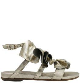 VicMatie VicMatie Platinum Asymmetric Ruffled Sandal 6650