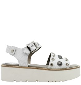 Now Now White Crackle Two Piece Buckled Sandal 4665