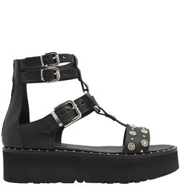 Now Now Black Three Buckle With Ring Flatform 4666