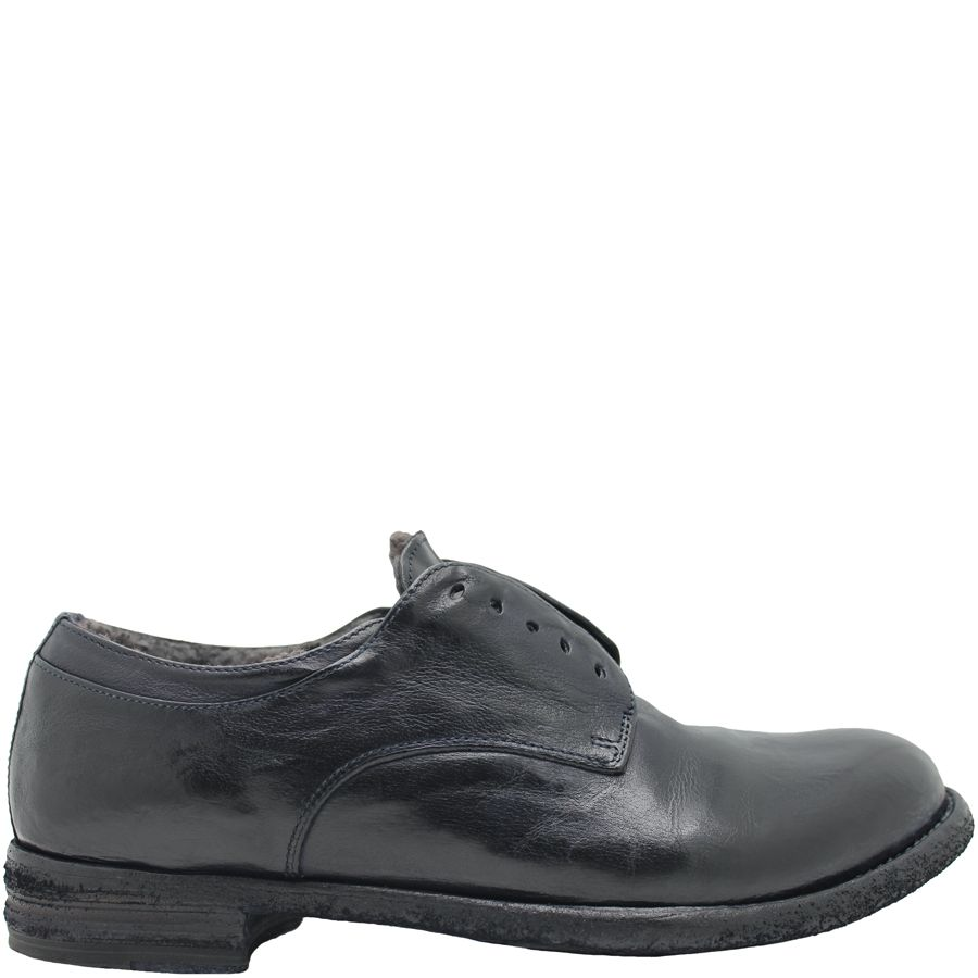 Officine Creative OfficineCreative Navy No Lace Fur Lined Shoe Sano