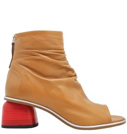 Halmanera Halmanera Tan Open Toe Boot With Silver Contast and Red Heel Abbie