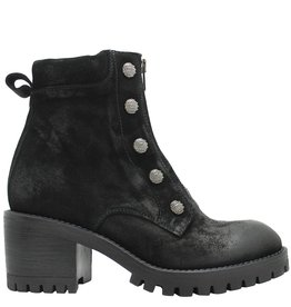 Now Now Black Suede Stud Boot With Front Zipper 4780