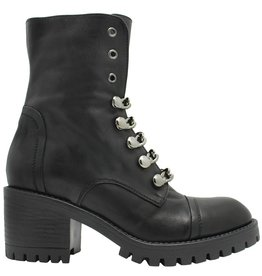 Now Now Black Chain Boot With Side Zipper 4777