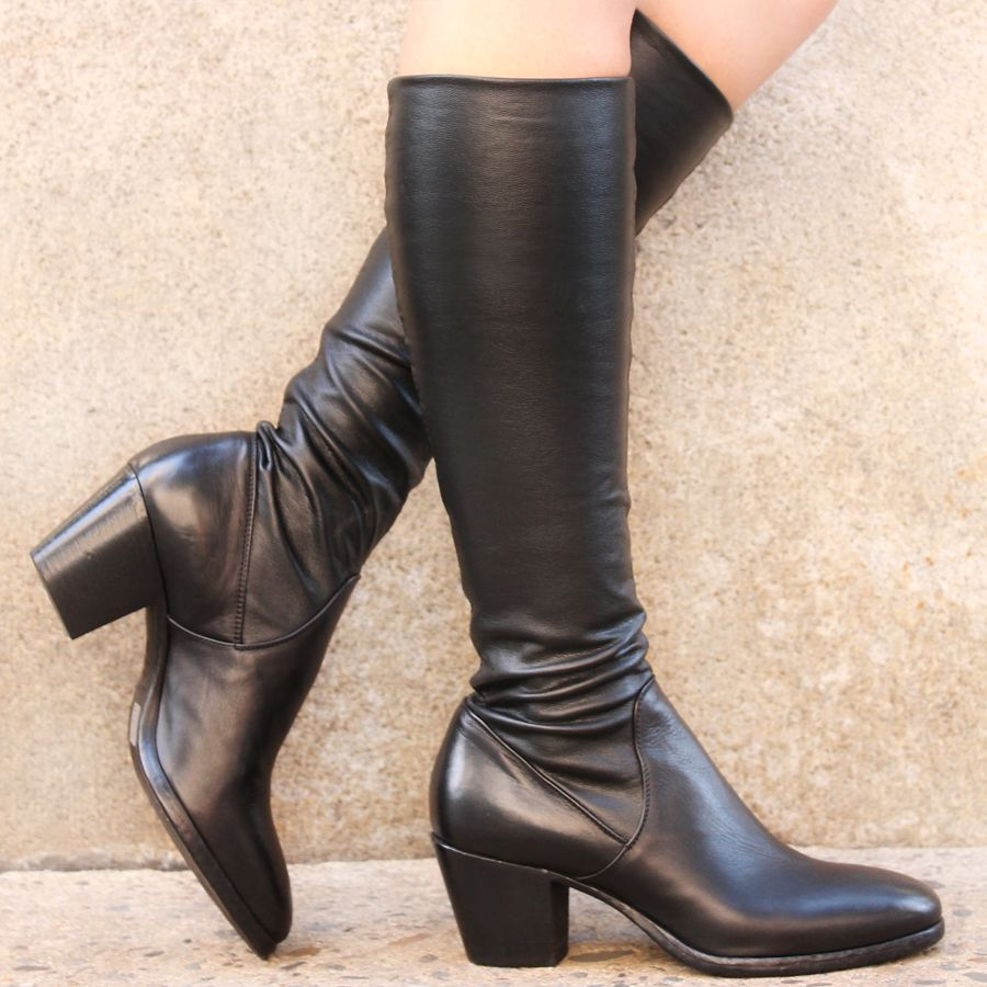 Elena Iachi ElenaIachi Black Calf Stretch Knee Boot 1646