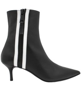 Elena Iachi ElenaIachi Black Point Toe Ankle Boot White Zipper 1664