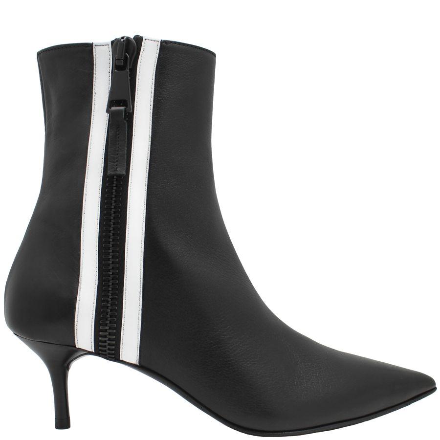 Elena Iachi ElenaIachi Black Point Toe Ankle Boot White Zipper 1664