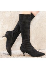 Strategia Strategia Black Suede Point Toe Knee Boot 2416