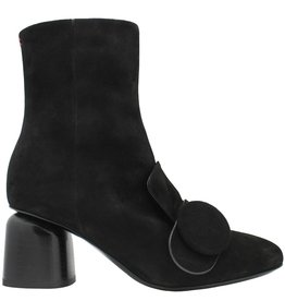 Halmanera Halmanera Black Suede Ankle Boot With Button Tricia