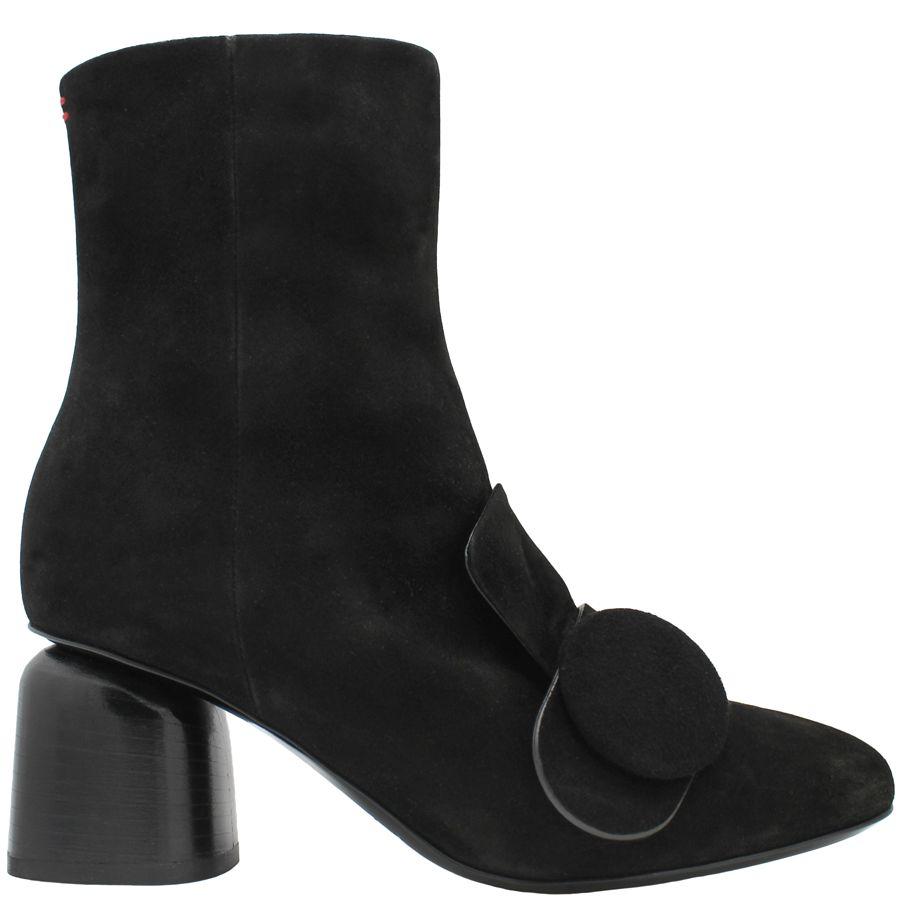 Halmanera Halmanera Black Suede Ankle Boot With Button Tricia