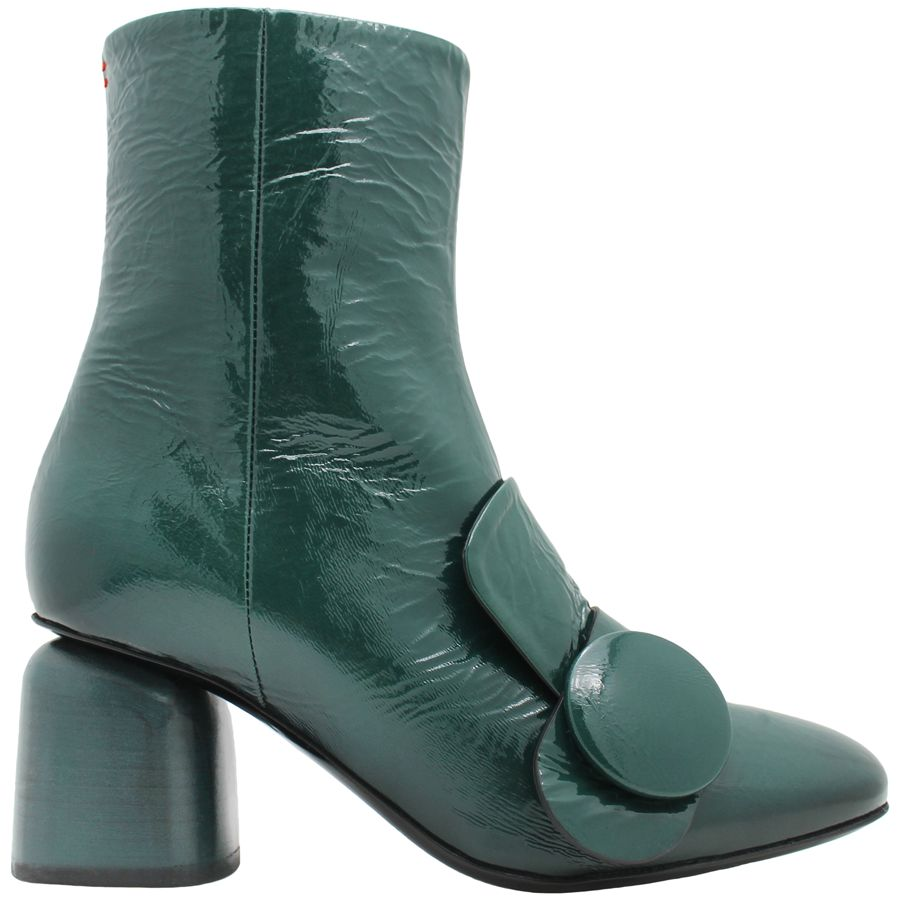 Halmanera Halmanera Green Patent Ankle Boot With Button Tricia