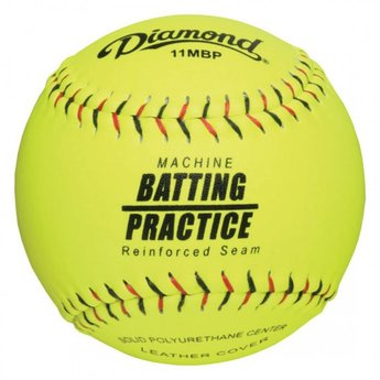 Diamond Flat Seam Machine Batting Practice Softballs 11MBP Flat Seam 1 Dozen