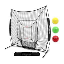 PowerNet DLX 2.0 Baseball Softball Hitting Net System w/ 3 Progressive Weighted Balls - TEAM BLACK
